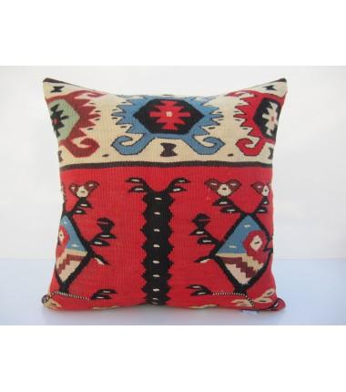 Turkish Kilim Pillow 16x16, ID 089, Kilim From Sarkoy