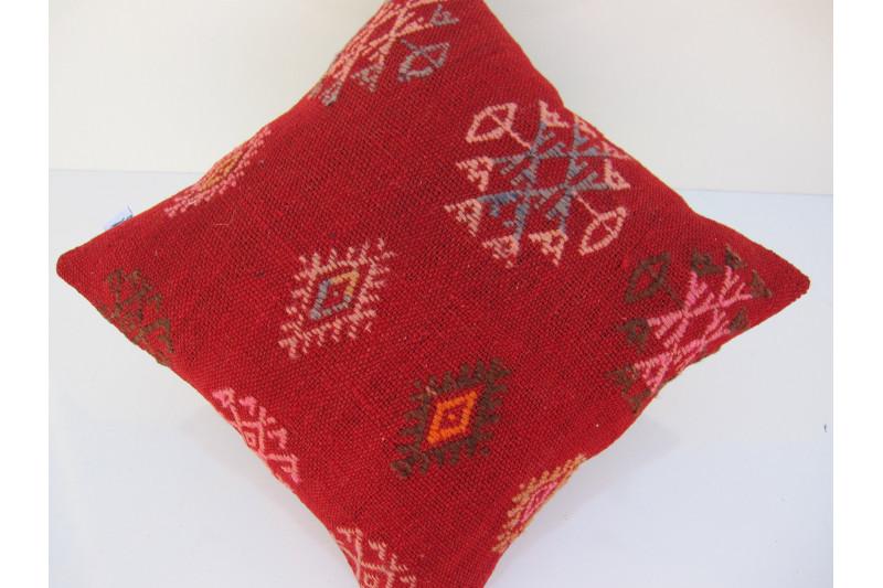 Turkish Kilim Pillow 16x16, ID 081, Kilim From Sivas