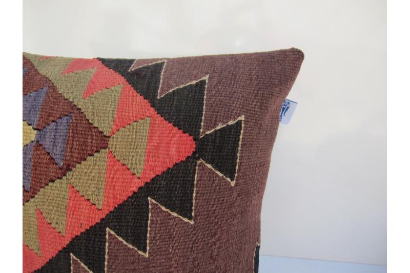 Turkish Kilim Pillow 16x16, ID 080, Kilim From Aydin