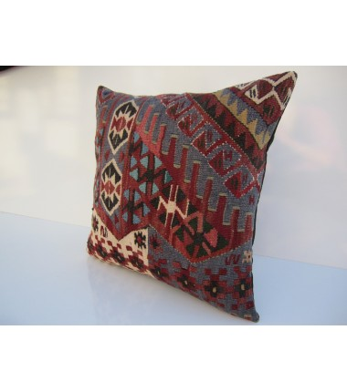 Turkish Kilim Pillow 18x18, ID 072, Kilim From Van