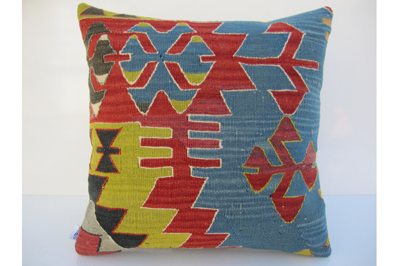 Turkish Kilim Pillow 18x18, ID 071, Kilim From Aydin
