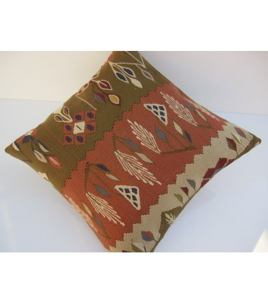 Turkish Kilim Pillow 18x18, ID 070, Kilim From Sarkoy