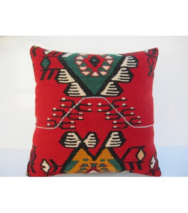 Turkish Kilim Pillow 18x18, ID 069, Kilim From Sarkoy