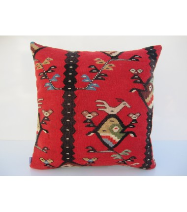 Turkish Kilim Pillow 18x18, ID 068, Kilim From Sarkoy