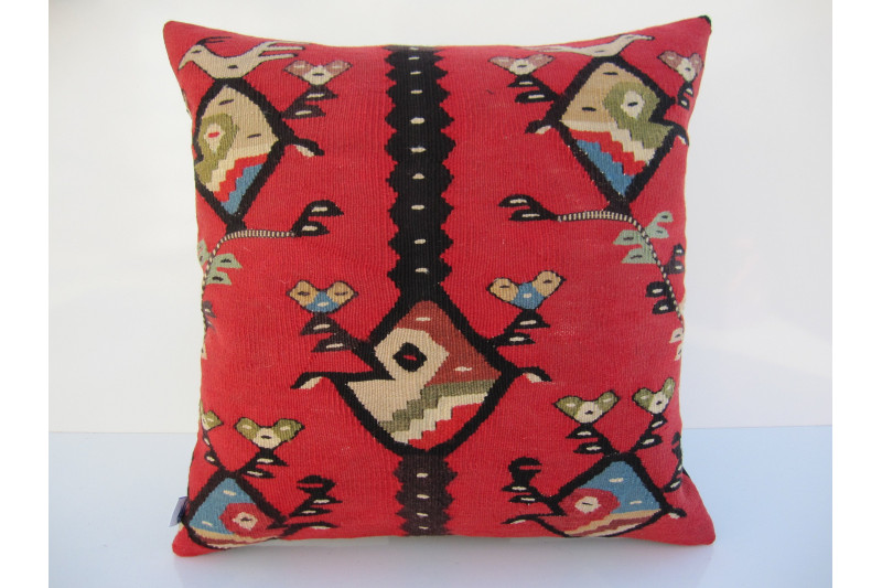 Turkish Kilim Pillow 18x18, ID 065, Kilim From Sarkoy