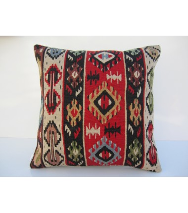 Turkish Kilim Pillow 18x18, ID 066, Kilim From Sarkoy