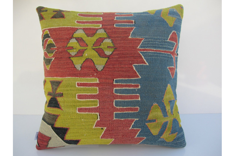 Turkish Kilim Pillow 18x18, ID 062, Kilim From Aydin