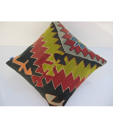 Turkish Kilim Pillow 18x18, ID 061, Kilim From Aydin