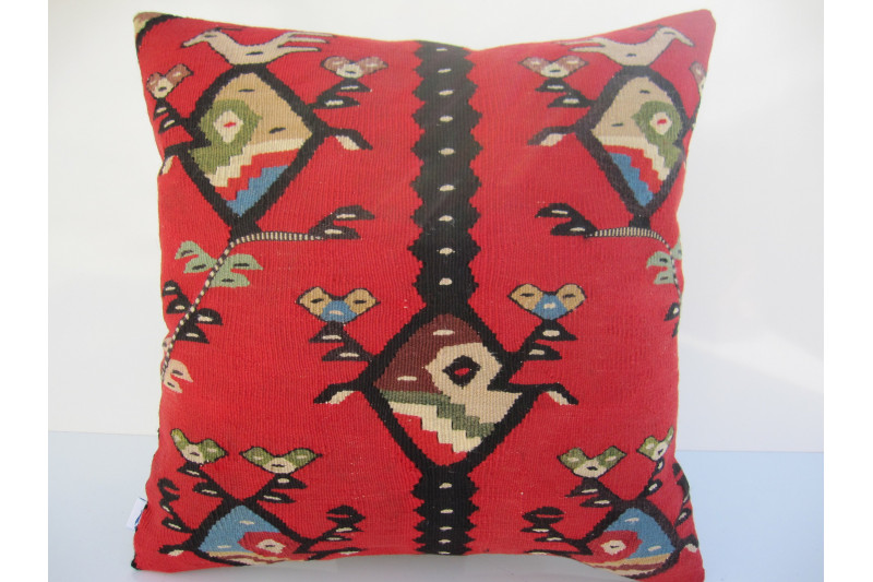Turkish Kilim Pillow 18x18, ID 060, Kilim From Sarkoy