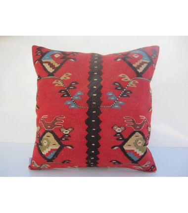 Turkish Kilim Pillow 18x18, ID 059, Kilim From Sarkoy