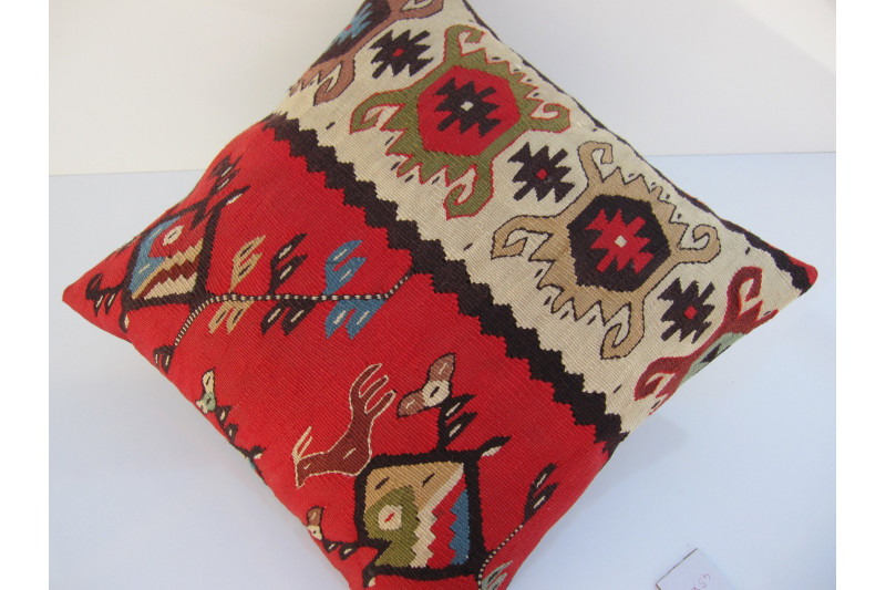 Turkish Kilim Pillow 18x18, ID 057,Kilim From Sarkoy