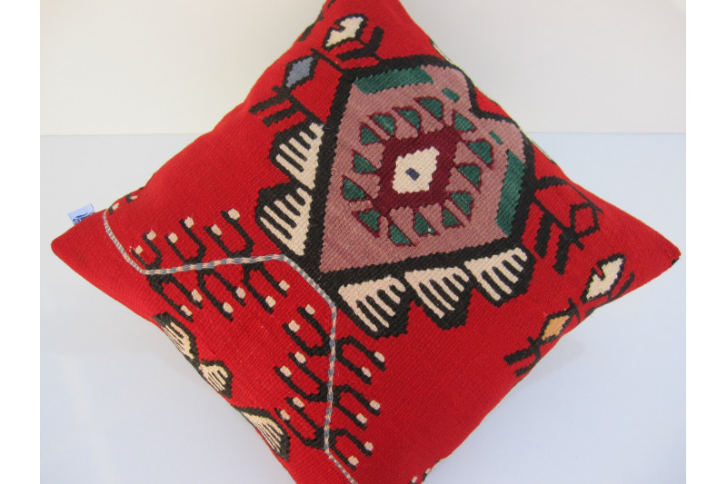 Turkish Kilim Pillow 18x18, ID 054, Kilim From Sarkoy