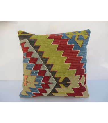Turkish Kilim Pillow 18x18, ID 026, Kilim From Aydin