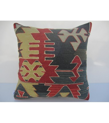 Turkish Kilim Pillow 18x18, ID 056, Kilim From Aydin