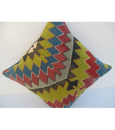 Turkish Kilim Pillow 18x18, ID 053, Kilim From Aydin