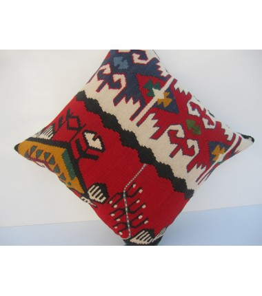 Turkish Kilim Pillow 18x18, ID 051, Kilim From Sarkoy