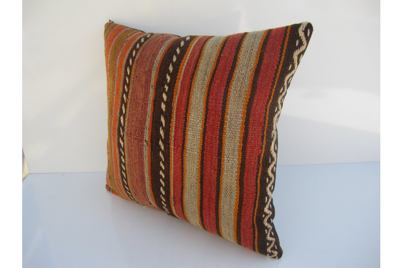 Turkish Kilim Pillow 18x18, ID 046, Kilim From Konya