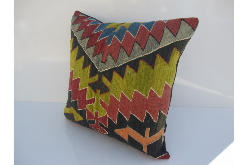 Turkish Kilim Pillow 18x18, ID 043, Kilim From Aydin