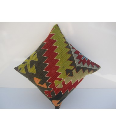 Turkish Kilim Pillow 18x18, ID 041, Kilim From Aydin