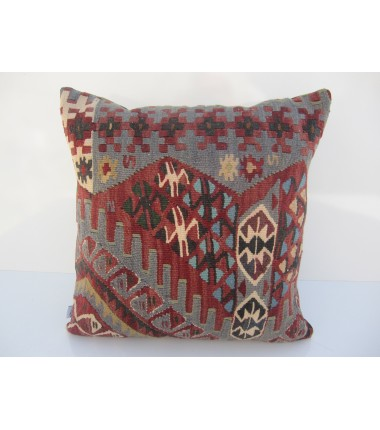 Turkish Kilim Pillow 18x18, ID 040, Kilim From Van