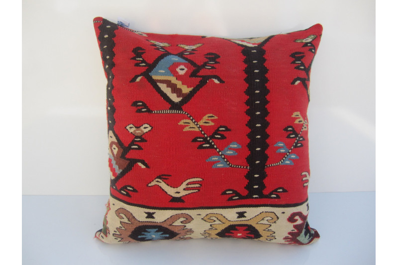 Turkish Kilim Pillow 18x18, ID 038, Kilim From Sarkoy