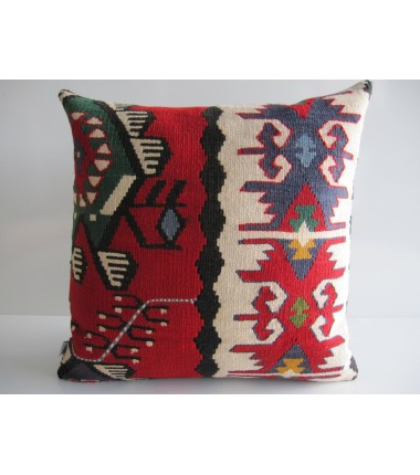 Turkish Kilim Pillow 18x18, ID 037, Kilim From Sarkoy
