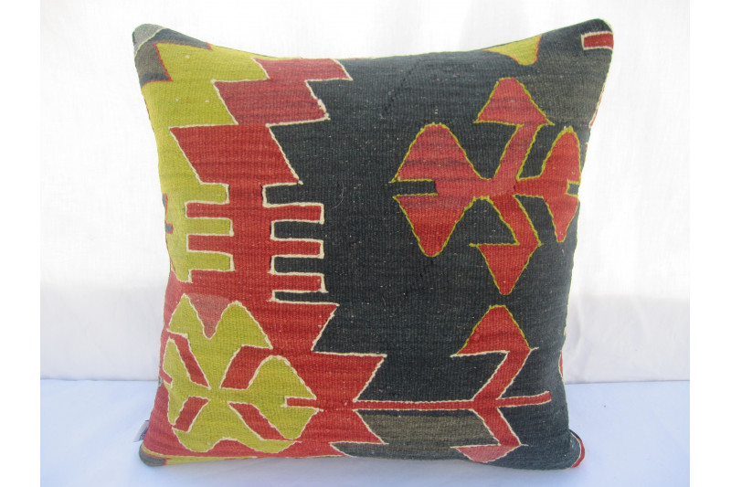 Turkish Kilim Pillow 18x18, ID 036, Kilim From Aydin