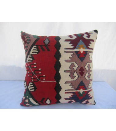 Turkish Kilim Pillow 18x18, ID 035, Kilim From Sarkoy