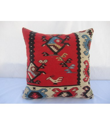 Turkish Kilim Pillow 18x18, ID 030, Kilim From Sarkoy