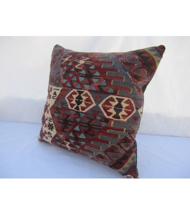 Turkish Kilim Pillow 18x18, ID 029, Kilim From Van