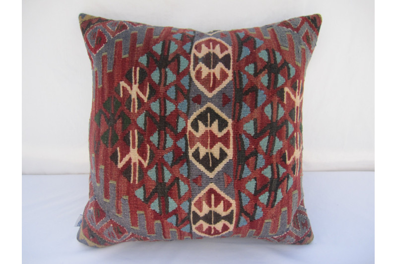 Turkish Kilim Pillow 18x18, ID 028, Kilim From Van