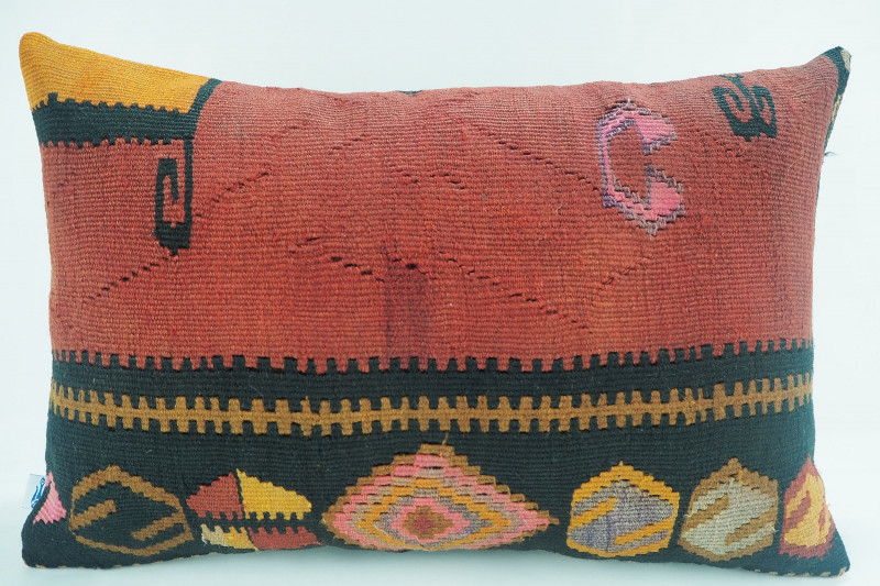 Kilim Pillow, ID 321, Turkish Kilim Pillow 16x24 from Kars
