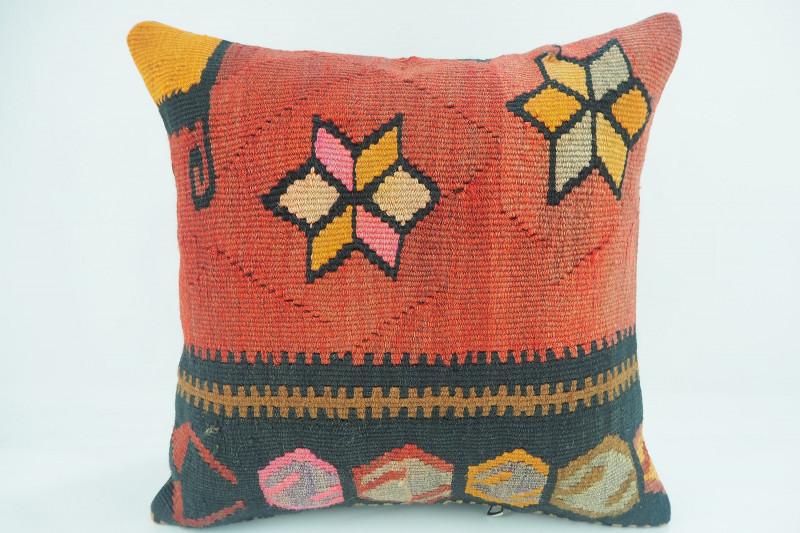 Turkish Kilim Pillow 16x16, ID 328, Kilim From Kars