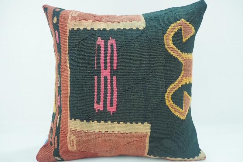 Turkish Kilim Pillow 16x16, ID 323, Kilim From Kars