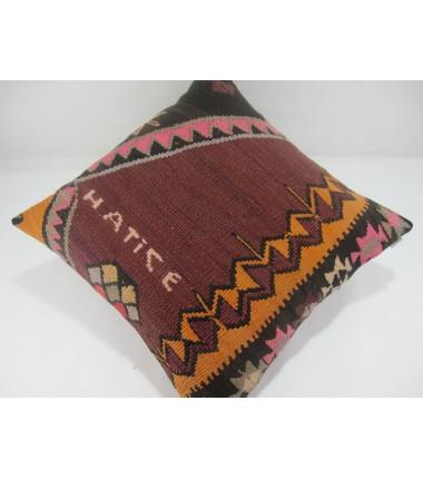 Turkish Kilim Pillow 20x20, ID 315, Kilim From Kars