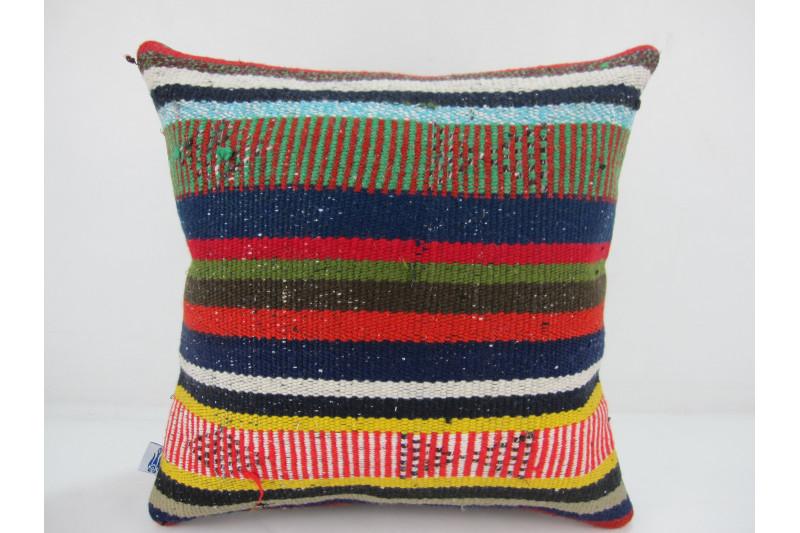 Turkish Kilim Pillow 16x16, ID 308, Kilim From Adiyaman