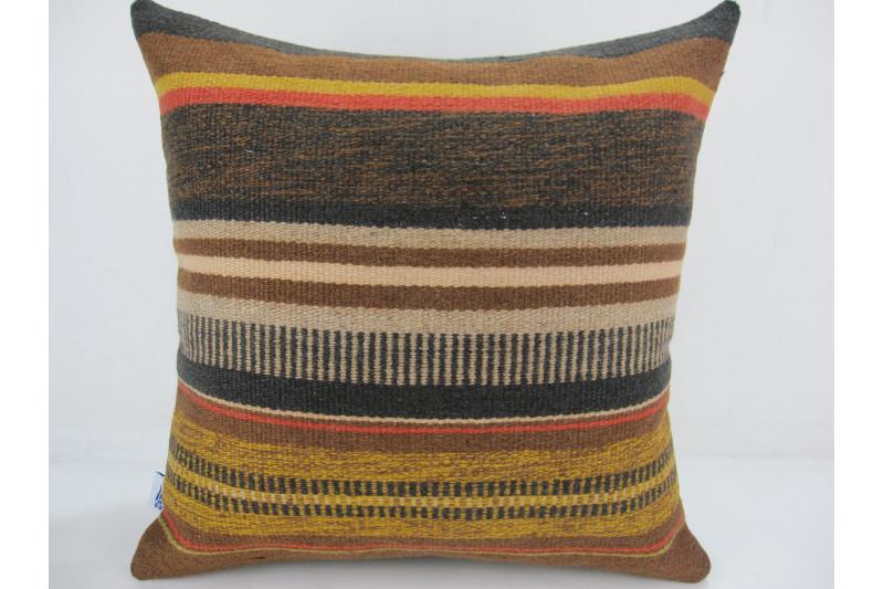 Turkish Kilim Pillow 16x16, ID 304, Kilim From Anatolia