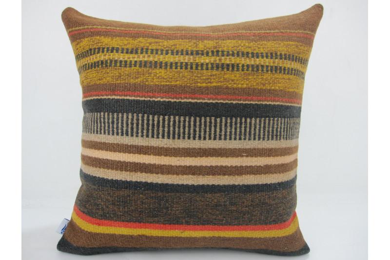 Turkish Kilim Pillow 16x16, ID 299, Kilim From Anatolia