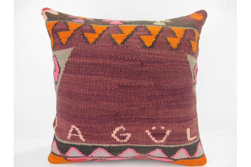 Turkish Kilim Pillow 16x16, ID 302, Kilim From Kars