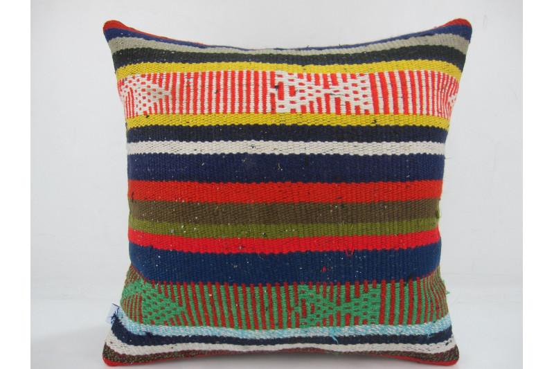 Turkish Kilim Pillow 16x16, ID 300, Kilim From Adiyaman