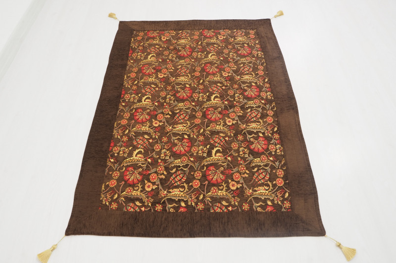 Turkish Ottoman Style Brown Table Cloth & Sofa Cover