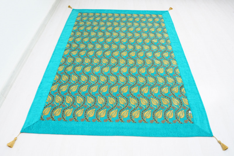 Turkish Ottoman Style Turquoise Blue Twin & Single Size Bed Cover