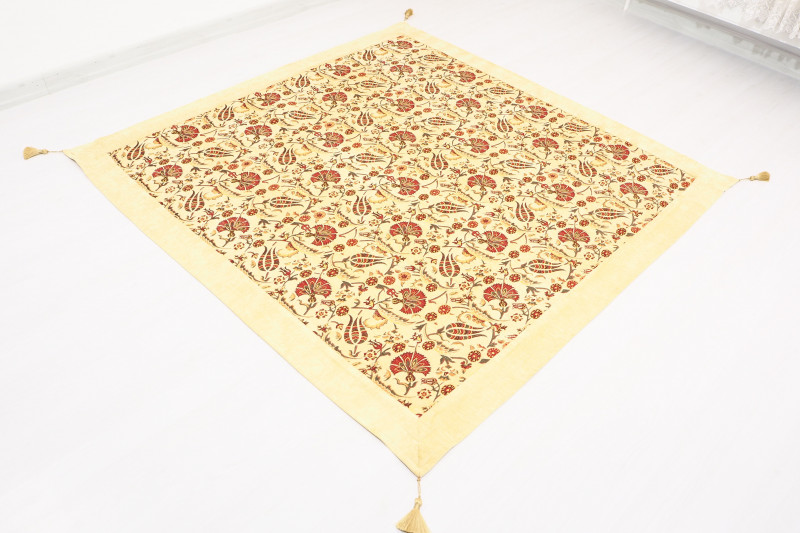 Turkish Ottoman Style Beige Sofa Cover & Table Cloth
