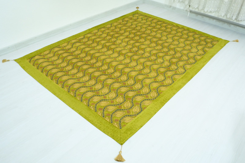 Turkish Ottoman 7.2X5.2 Green Twin Large Size Bed Cover
