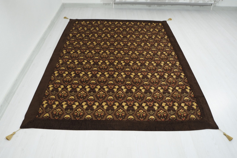 Turkish Ottoman 7.2X5.2 Brown Twin Large Size Bed Cover