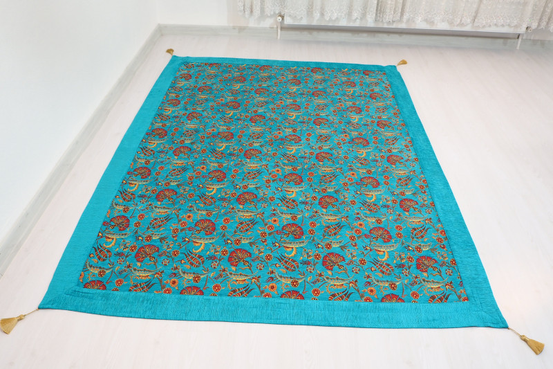 Turkish Ottoman 7.2X5.2 Turquoise Blue Twin Large Size Bed Cover