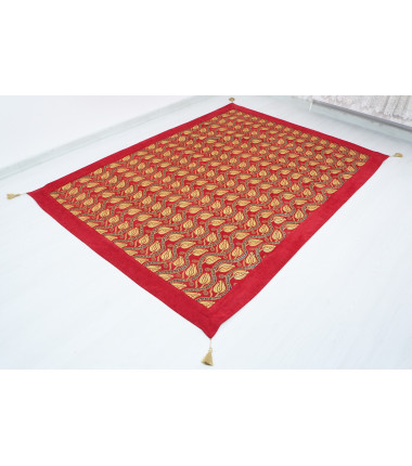 Turkish Ottoman 7.2X5.2 Red Twin Large Size Bed Cover