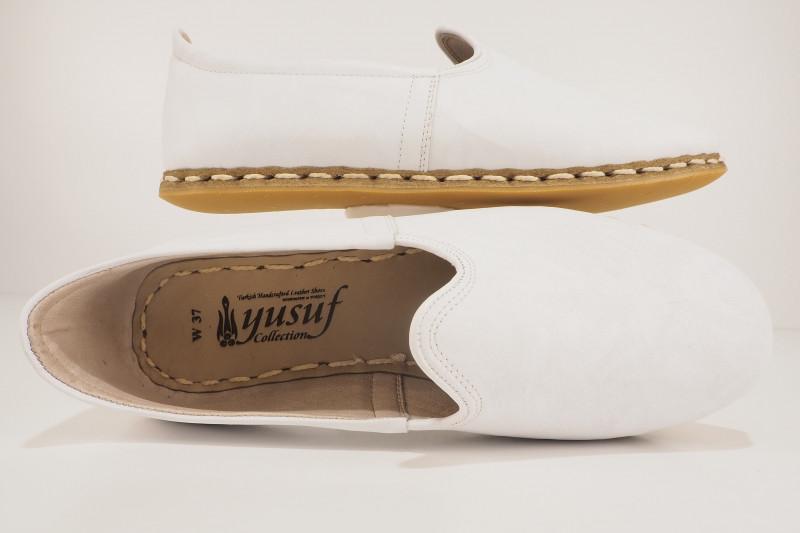Turkish Yemeni White Handmade and Hand Stitched Sabah Shoes