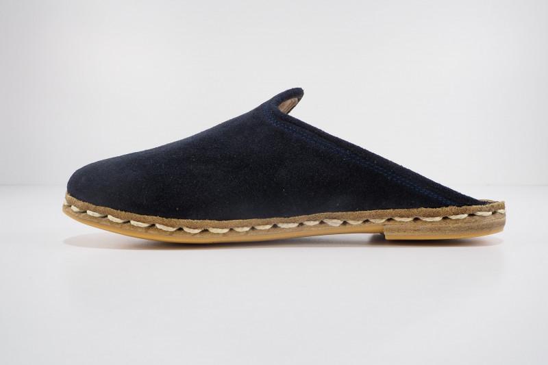 Turkish Yemeni Navy Blue Nubuck Handmade and Hand Stitched Sandals