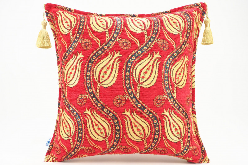 Turkish Fabric Pillow 18x18, Red Tulip Pattern Decorative Ottoman Fabric Pillow